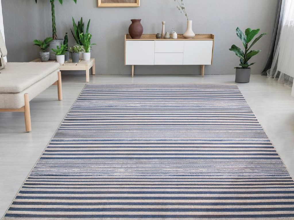 blue and white striped area rug in living room