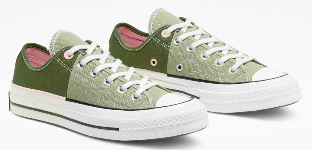 light & dark green color blocked converse shoes with pink interior