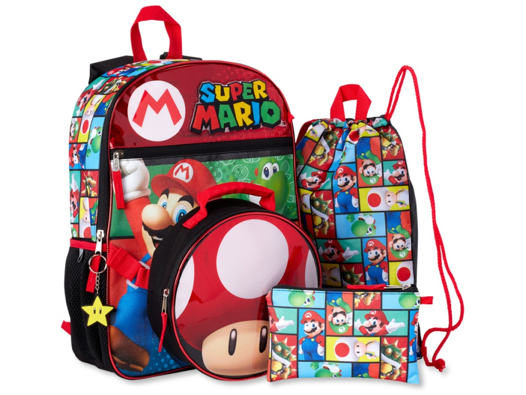 stock image of backpack set with super mario characters