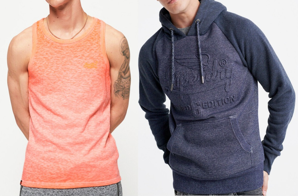 two men modeling an orange color tank top and navy blue sweatshirt with Superdry logo