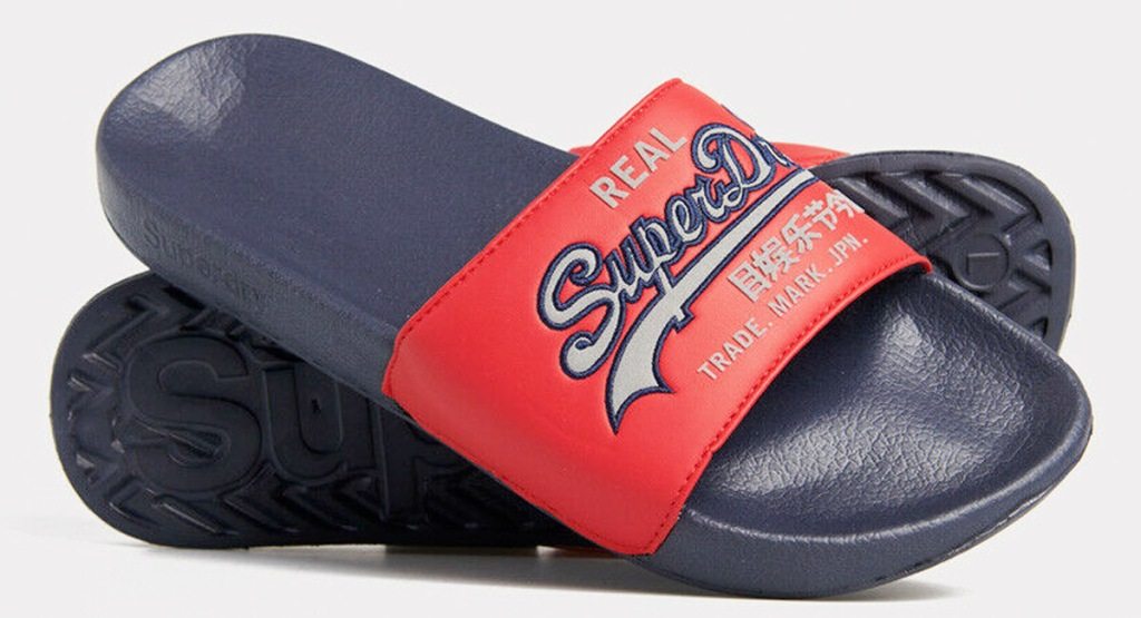 pair of men's red slides with Superdry logo and navy blue rubber soles