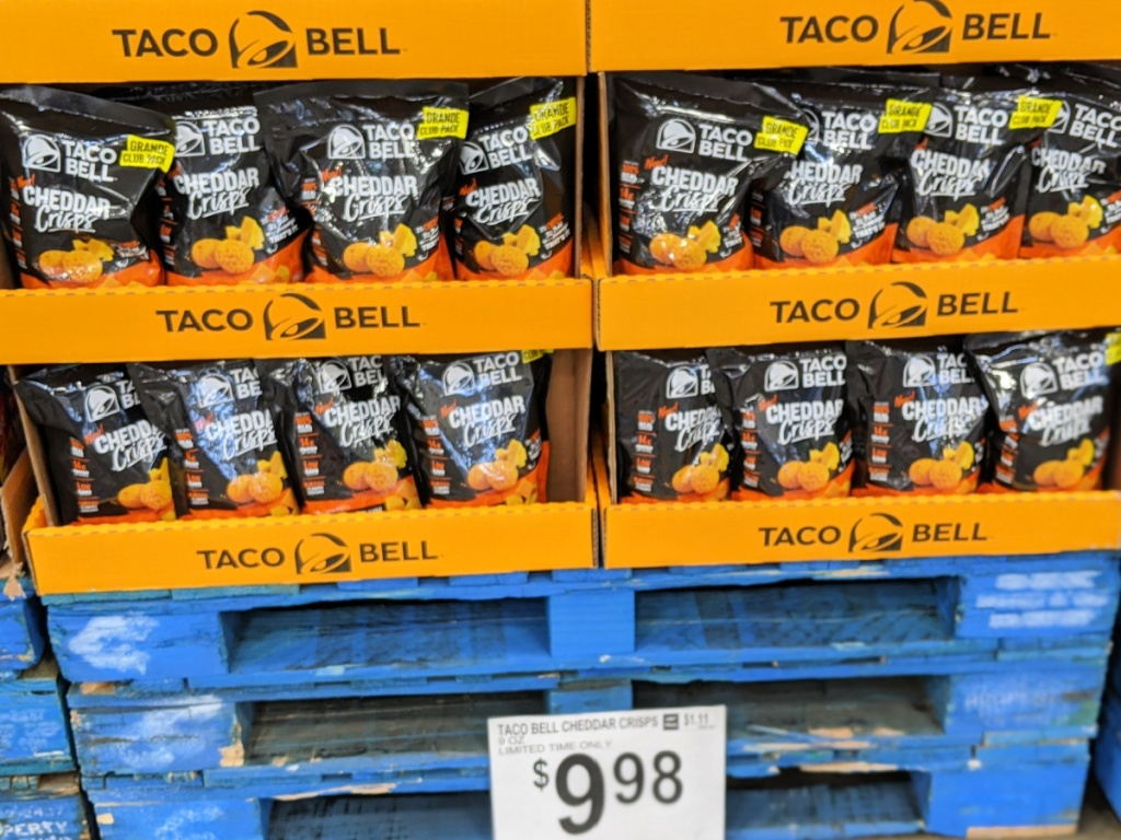 Taco Bell Cheddar Crisps in bags at Sam's Club