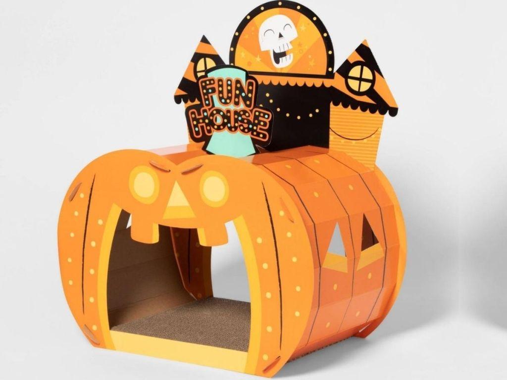 cat scratcher shaped like a halloween fun house