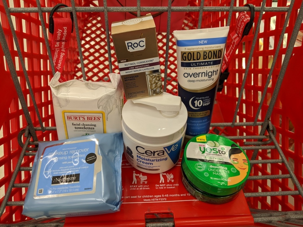multiple skin care products on target cart