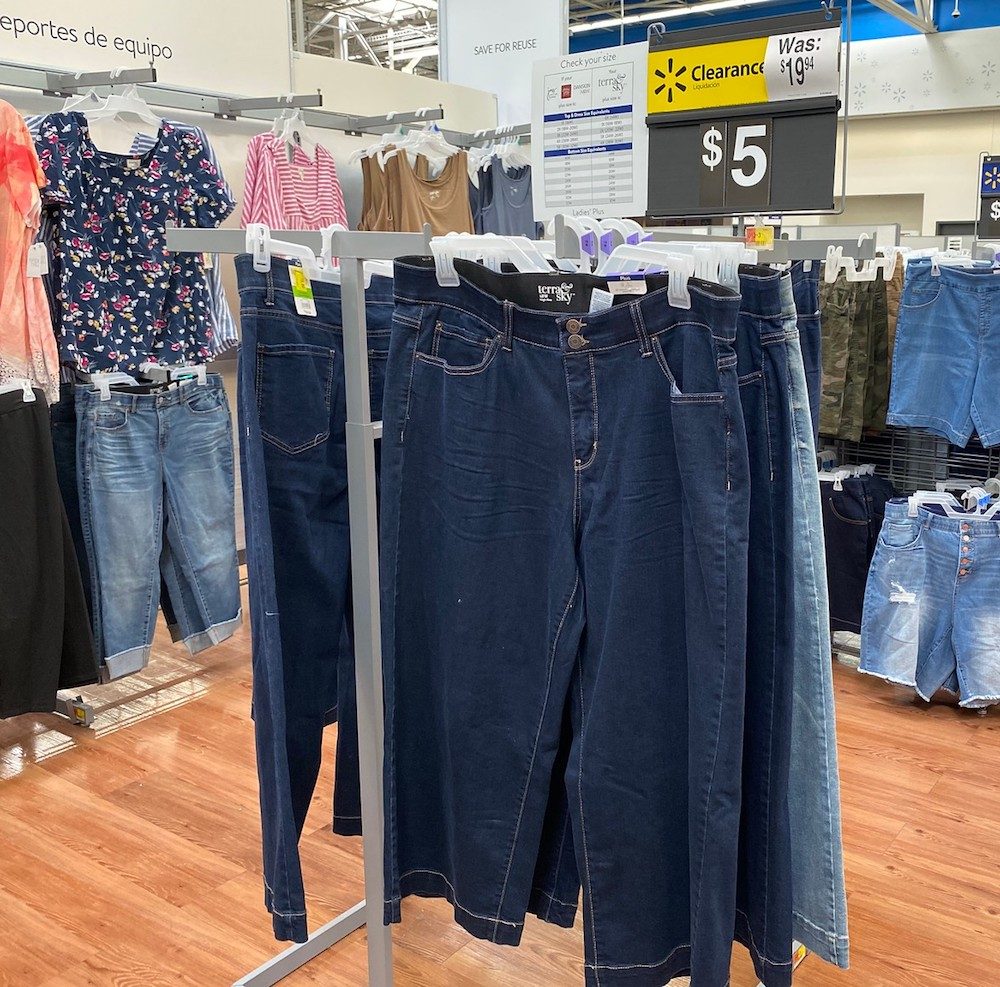 Terry Sky Jeans Capris on store rack