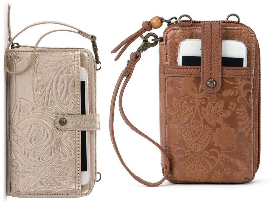two colors of The Sak Leather Smartphone Crossbody Bag