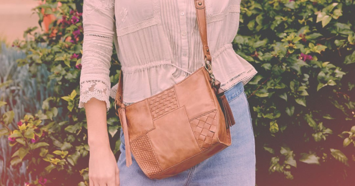 woman wearing brown Woven Patch Silversnake City Leather Crossbody Bag