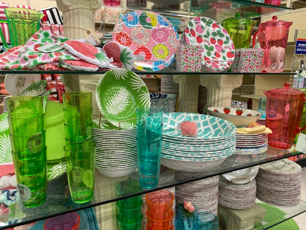 display of dishes on shelves at Hobby Lobby
