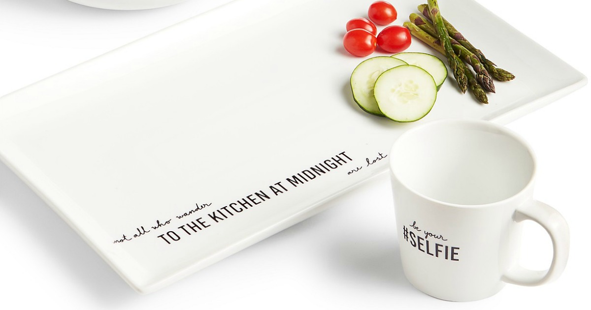 dinnerware with cute phrases printed on it