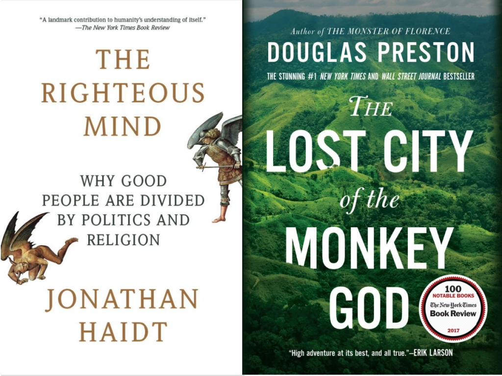 book covers of The righteous minda nd the lost city of the monkey god