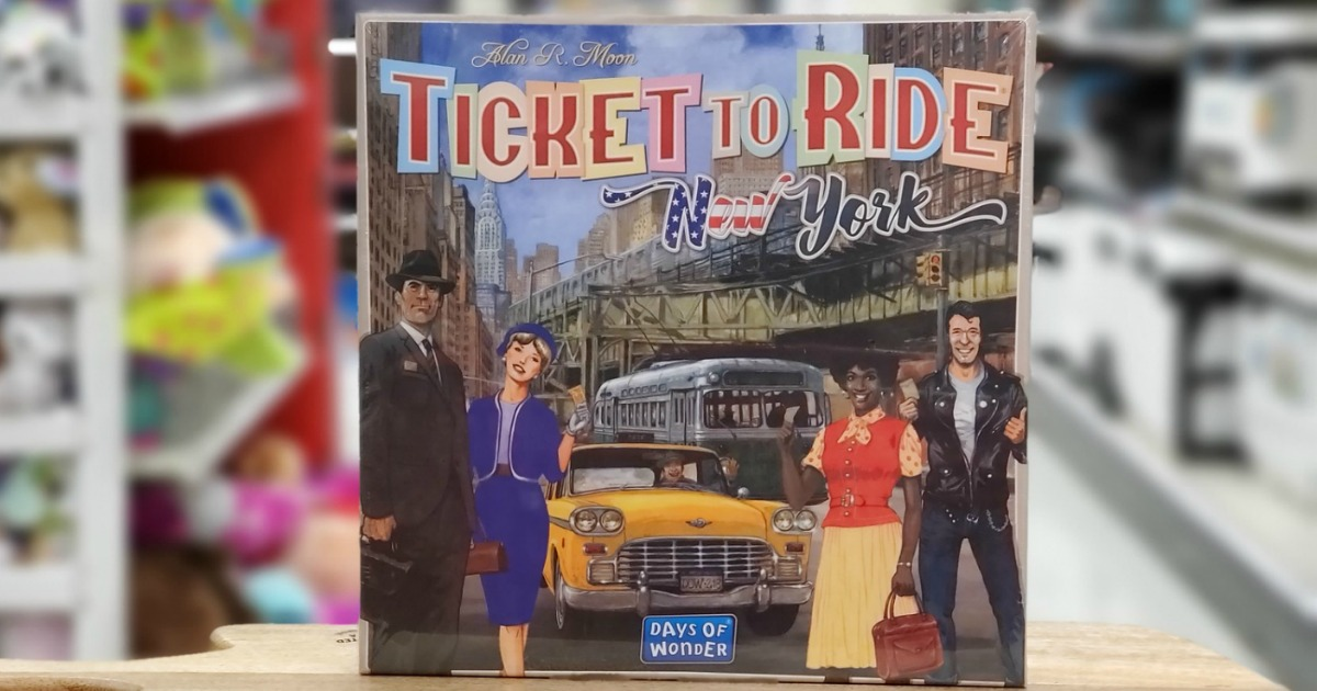 close up of Ticket to Ride New York board game box cover in a store