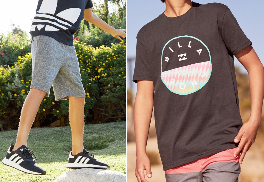boy standing on rock wearing black adidas logo tee and grey sweat shorts and a boy wearing a black Billabong graphic tee