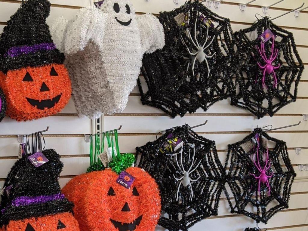 wall of tinsel halloween decor