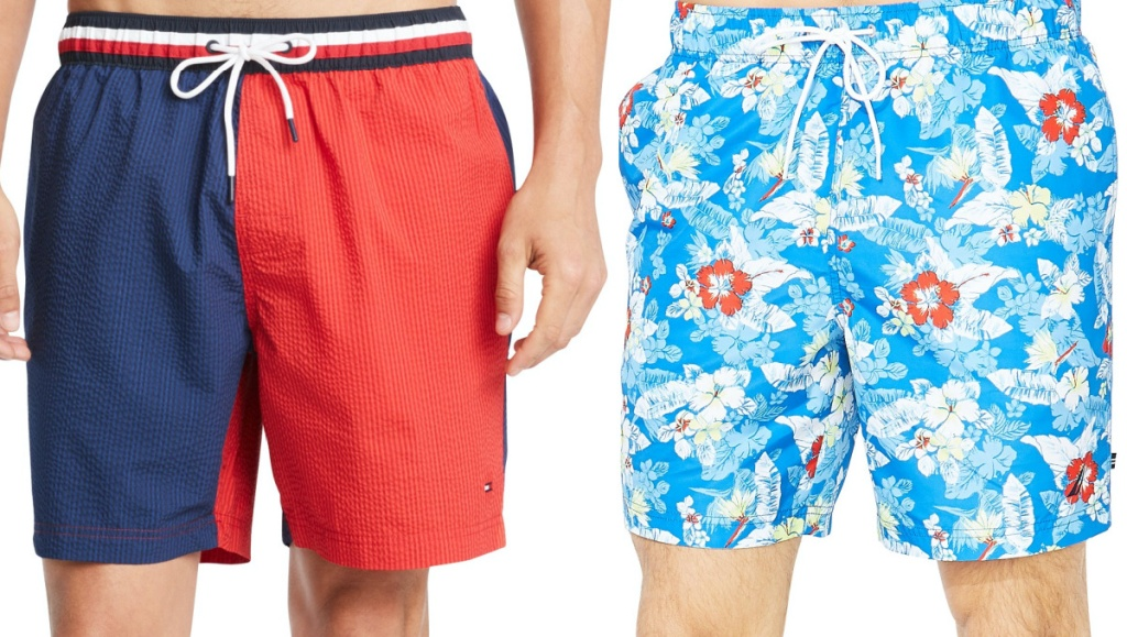 man in red and blue colorblock swim trunks and man in blue floral swim trunks
