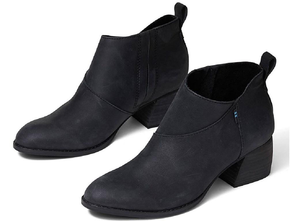 toms women's black leather booties