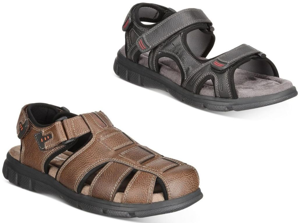 two pairs of men's sandals