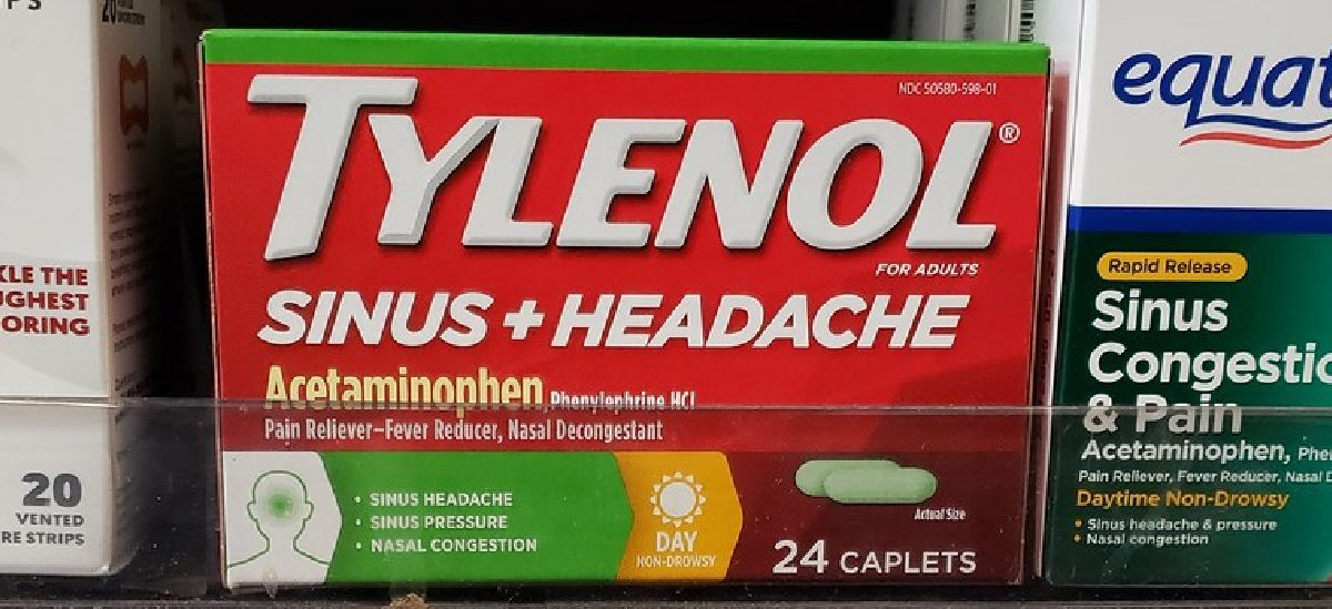 box of sinus medicine on store shelf