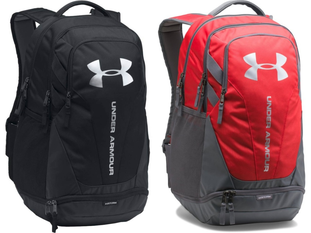 black backpack and red and gray backpack