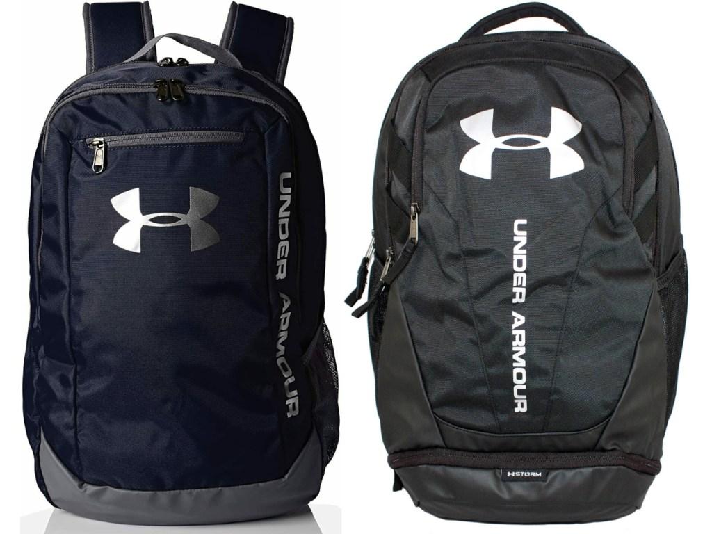 dark blue backpack and black backpack