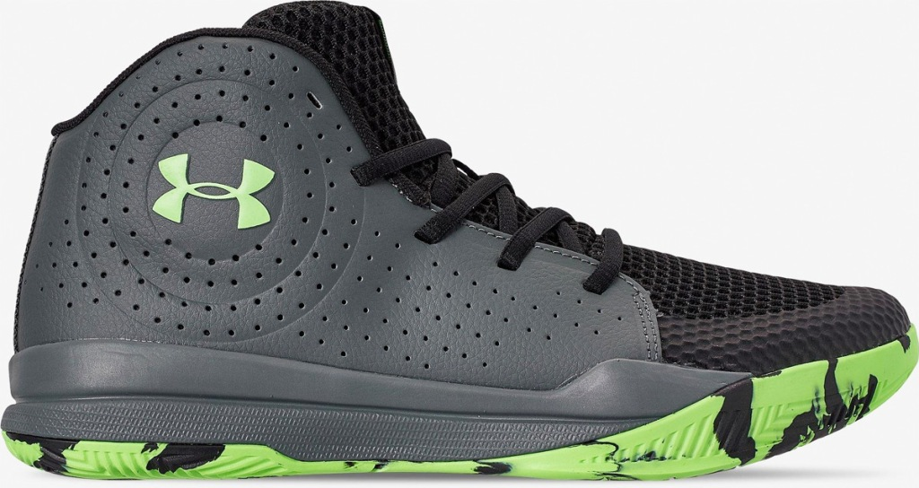 black Under Armour backetball shoe with green logo and soles