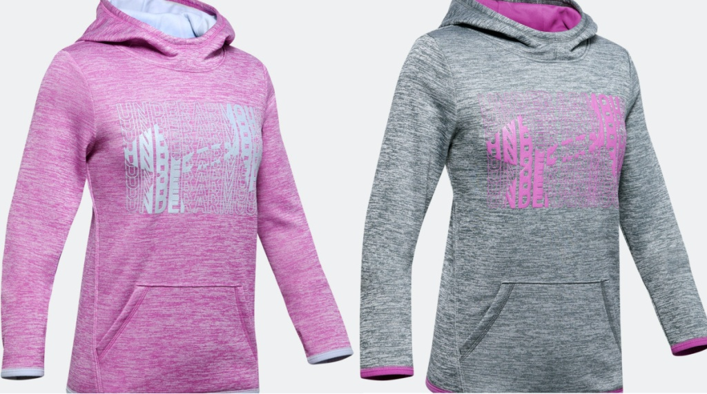 girls pink logo hoodie and girls gray and pink logo hoodie