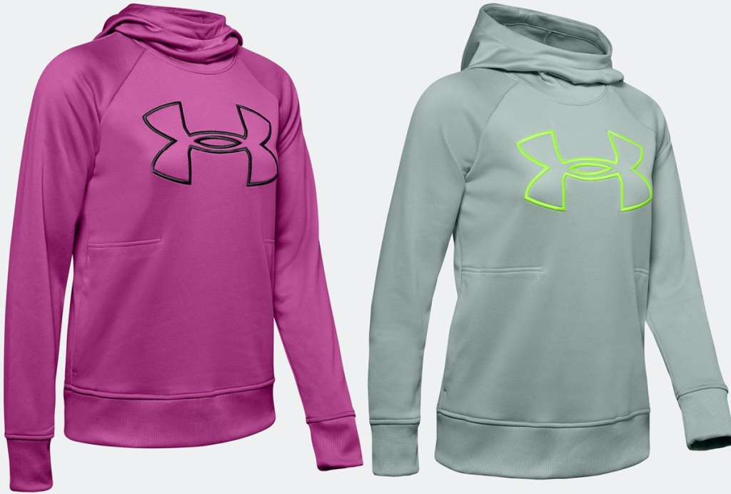 women's pink logo hoodie and women's green and gray logo hoodie