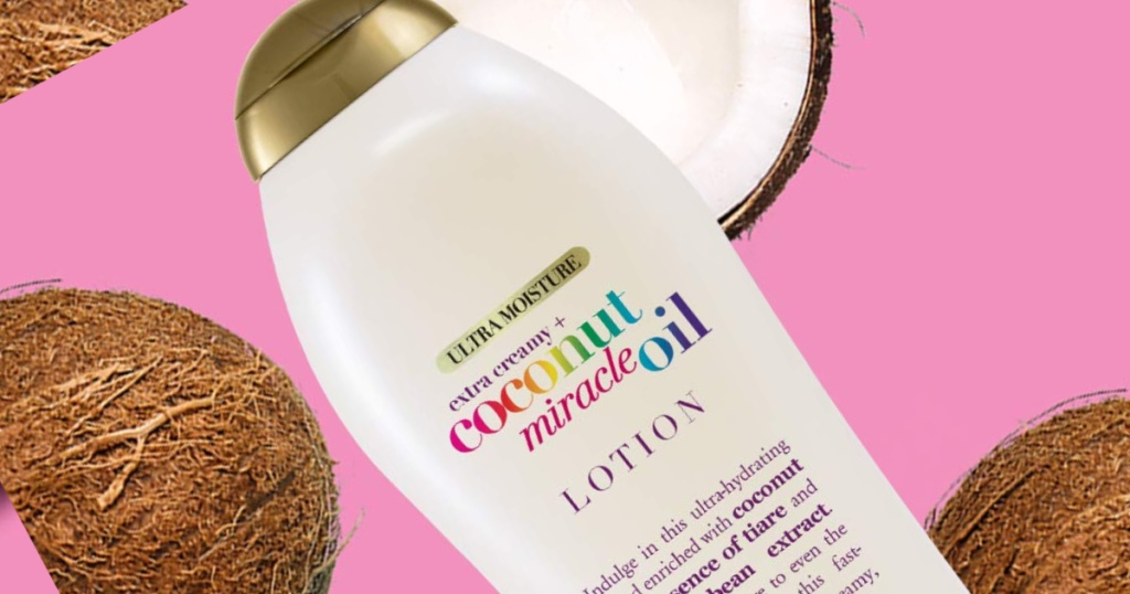 ogx miracle oil coconut lotion with coconuts in background