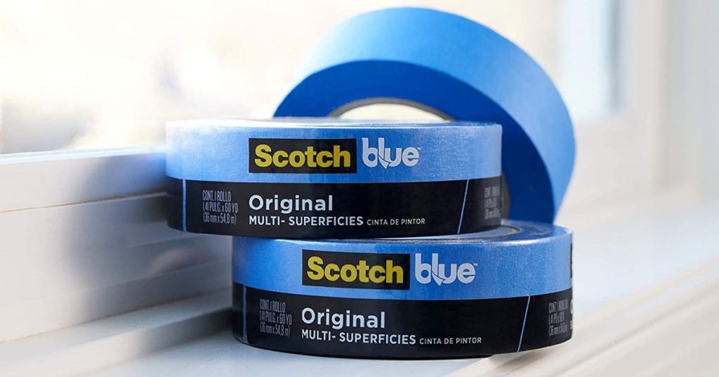 scotch blue painters tape 3 rolls stacked