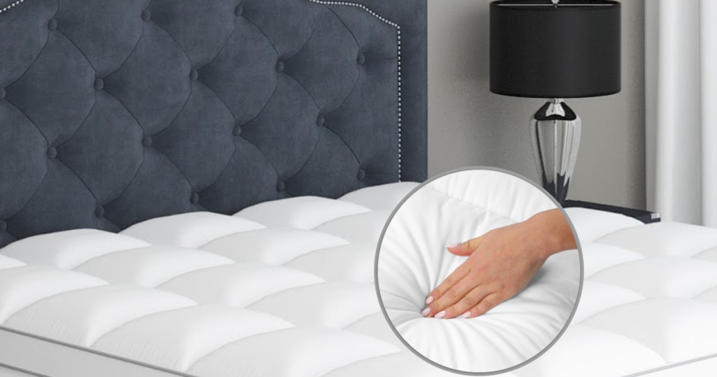 mattress topper white on bed