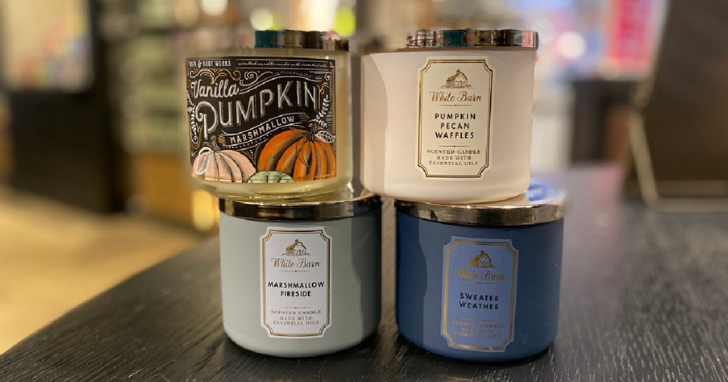 bath and body works fall candles ( 4 ) 4 stacked in store