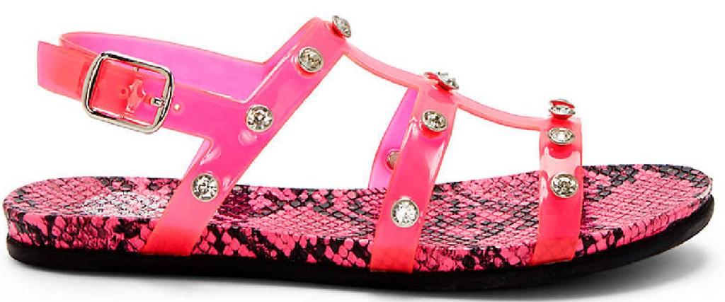 pink gladiator sandal pink snake and rhinestones