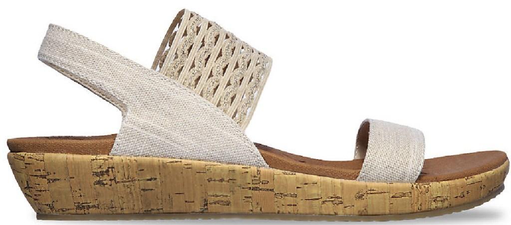 skechers womens sandal beige with wedge