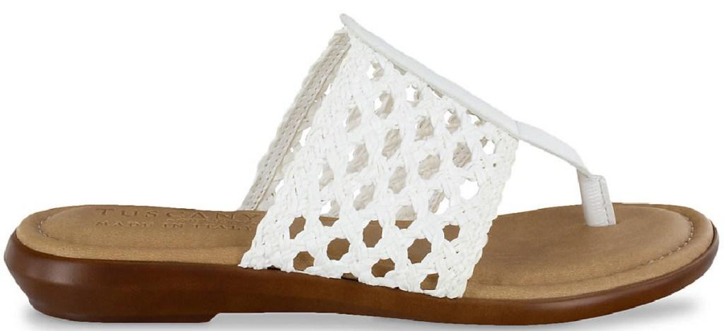 easy street womens carlina flip flop white woven