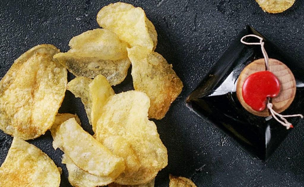 chips on dark surface