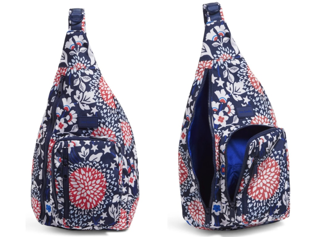 red white and blue vera bradley sling bag open and closed