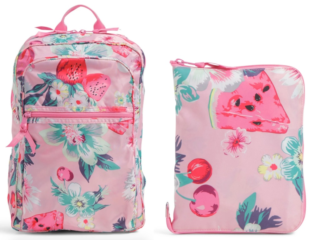 vera bradley light pink with fruit packable backpack