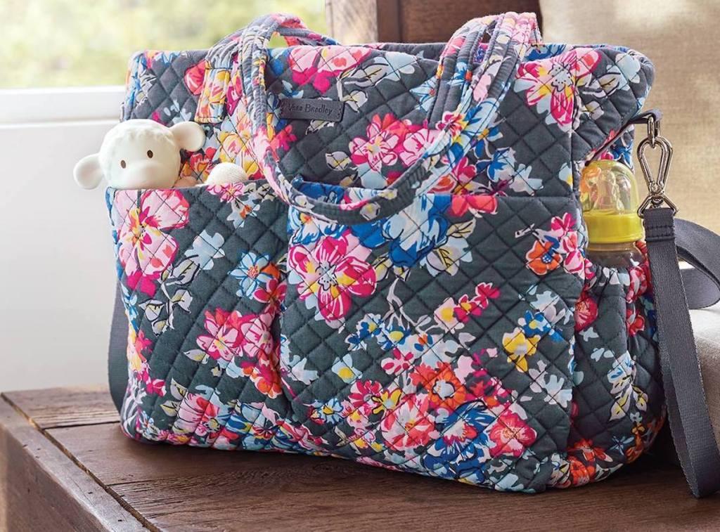 Vera Bradley Diaper Bag in Pretty Posies with items inside bag