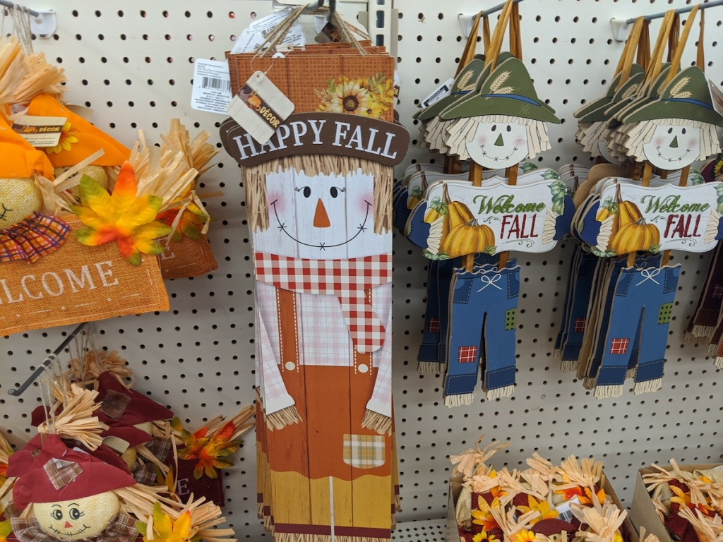 happy fall scarecrow vertical sign inside dollar tree