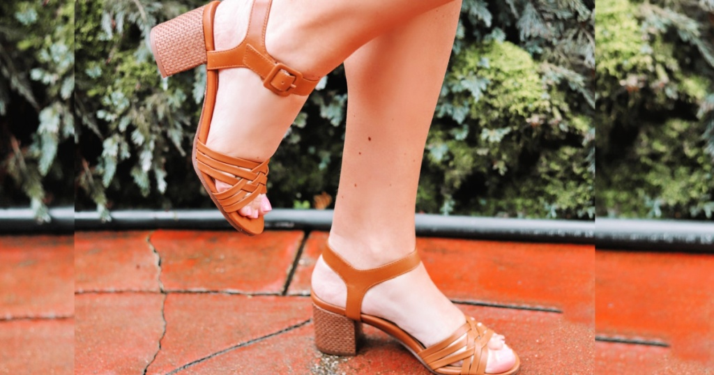woman wearing Vionic Peony Leather Sandals