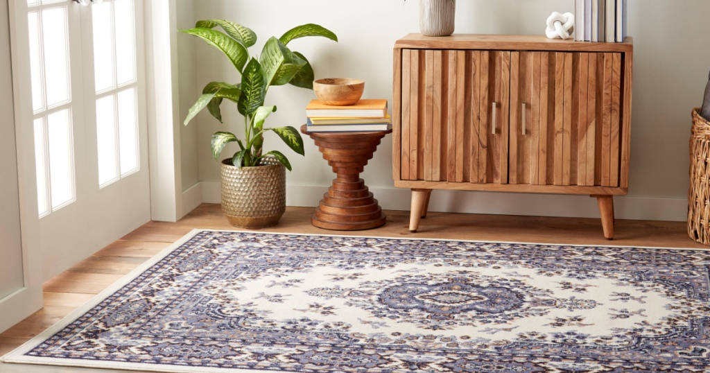 light blue and pink area rug on the floor next to a house plant and side table