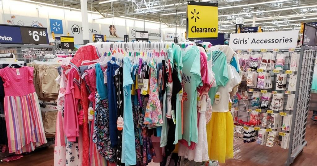 Walmart Clearance Apparel on racks