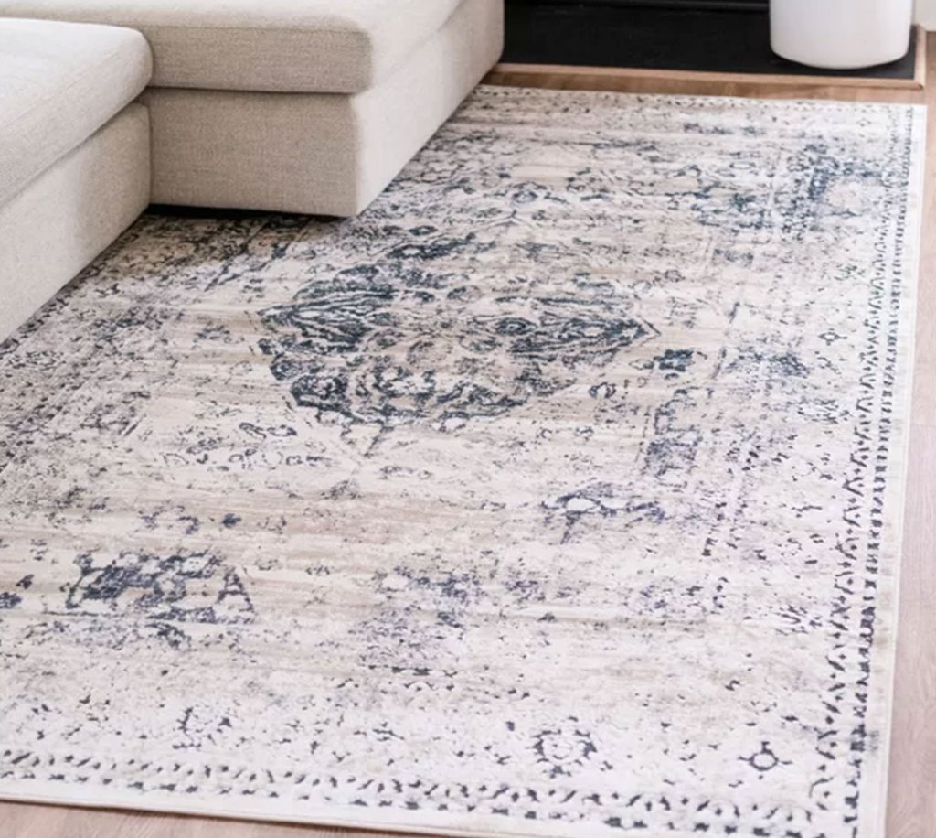 grey and blue oriental area rug in front of cream colored couch