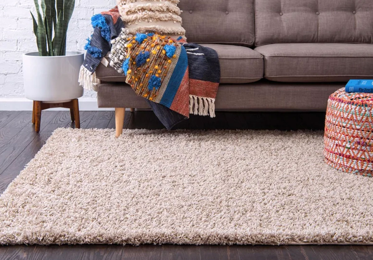 cream colored shag area rug in front of grey couch