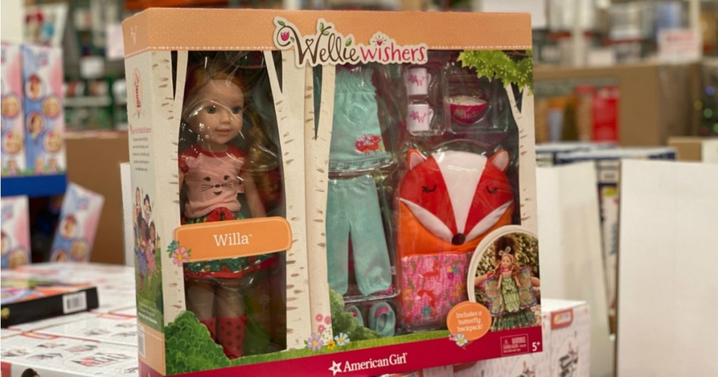 WellieWishers Doll Gift set shown in costco store