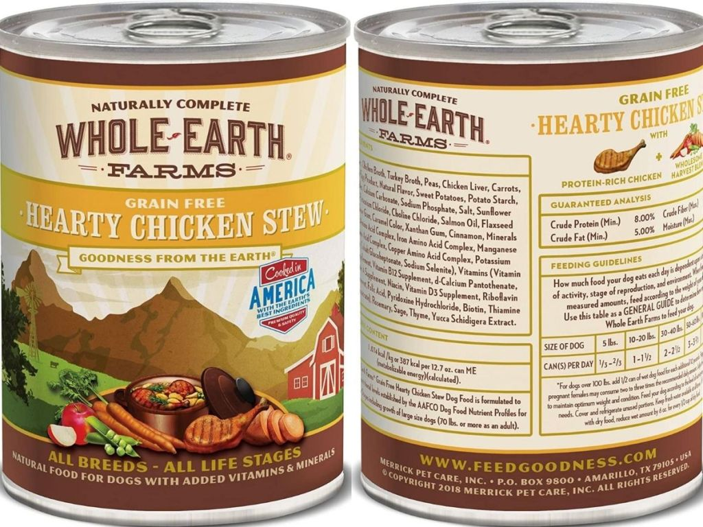 front and back view of dog food