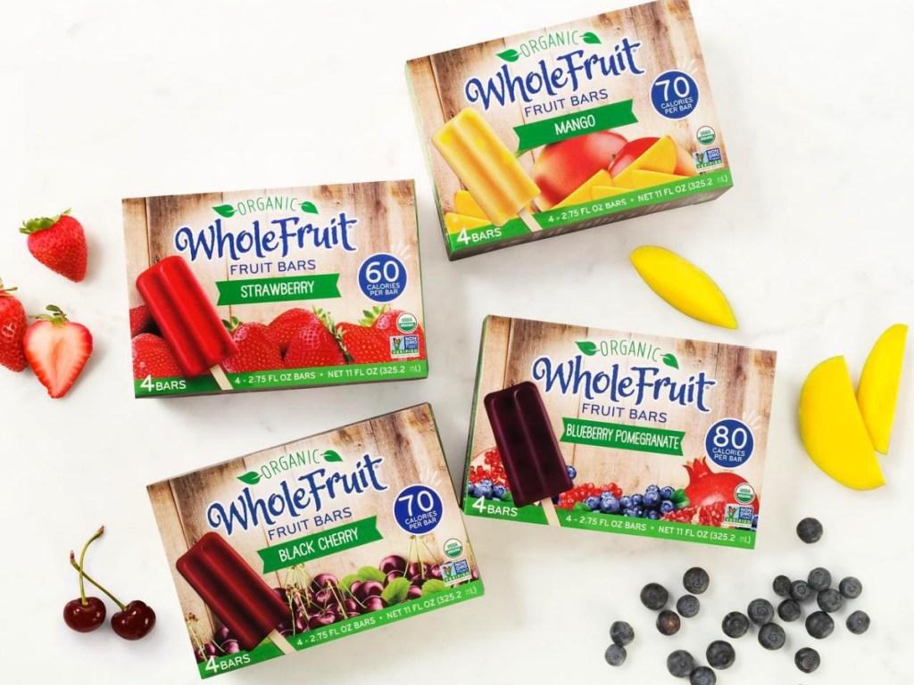 Whole Fruit Fruit Bars boxes with fruit