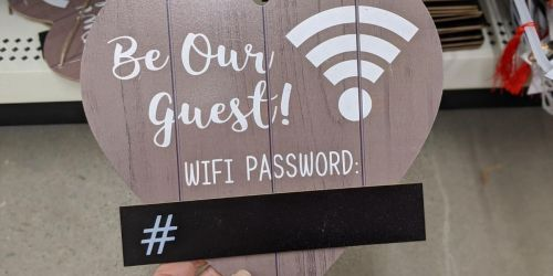 Wifi Password Hanging Sign Only $1 at Dollar Tree