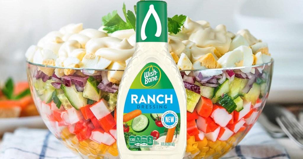 Wish-Bone Ranch Dressing with bowl of salad