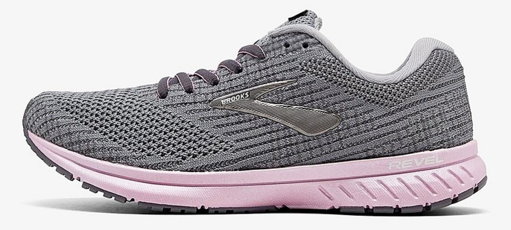 grey Brooks running shoe with light pink soles