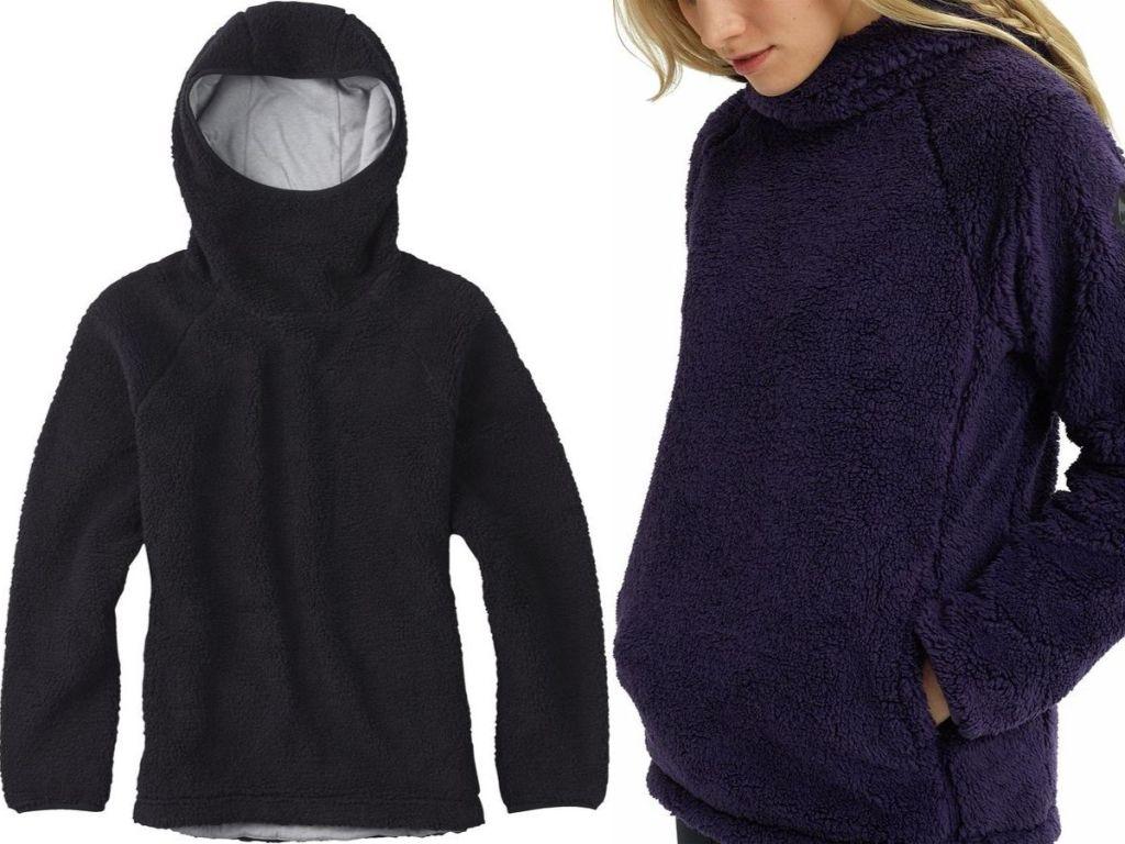 women's fleece pullover and woman wearing it